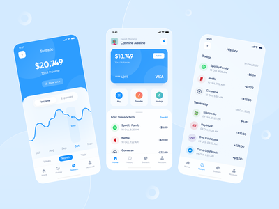 Moneybox - Mobile Apps uxdesign uidesign ux ui blue transaction ewallet bank fintech wallet minimal ios design app clean clean ui money app finance mobile ui mobile app