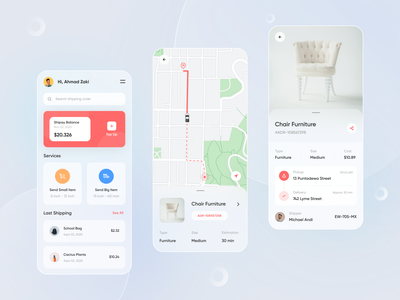 Qirim - Mobile Apps order map finance branding designer ux ui service delivery clean minimal mobile ui red design ux design ui design shipping mobile app ios app