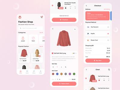 Wearup - Mobile App uiux color fashion app shopping payment shop pink ecommerce clothes fashion uidesign design uxdesign ios clean ux ui mobile ui mobile app app