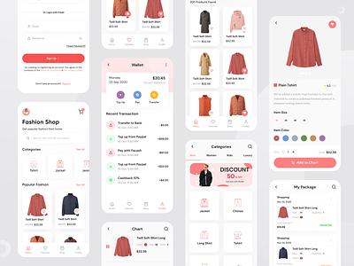 fashop - UI Kit shipping signup page shopping cart fashion design wallet ecommerce shopping ui kit pink fashion app ios uiux branding clean uxdesign uidesign mobile ui mobile app design app