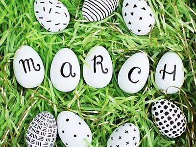 Craft Calendar / March painted march handlettered handmade easter eggs craft calendar