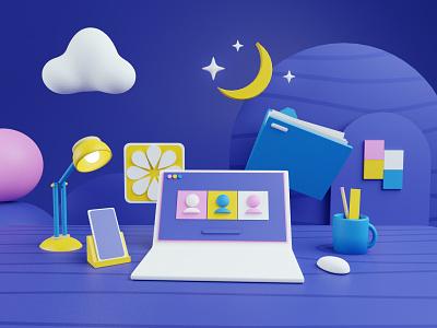 The Age of Zoom yellow purple meetings zoom night desk render 3d blender