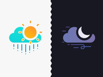 Day + Night sunny moon cloudy rain windy icons weather bright dark