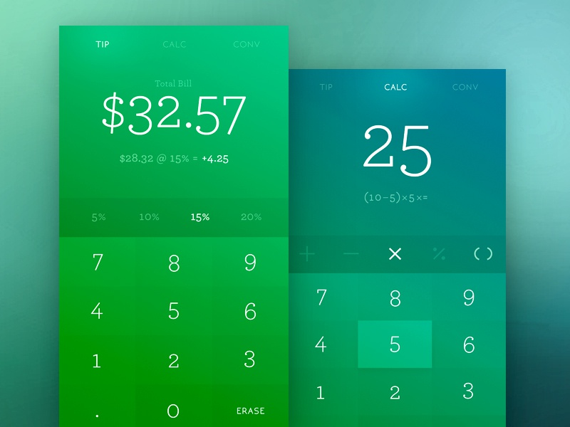 004 Calculator numbers tip calculator app dailyui 004 day
