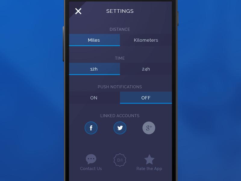 007 Settings screen settings app 007 dailyui