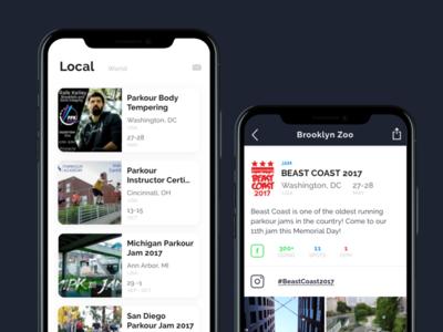 Pk Unity Events iphonex product ui app parkour