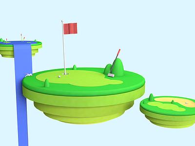 Golfing Plats render 3d floating island floating golfing c4d