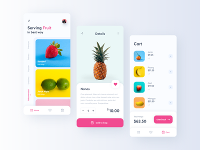 App - Fruit Groceries food delivery app product design product page mobile bag shop price interface ux ui food fruit card app design app minimalism minimal clean add to basket add to cart