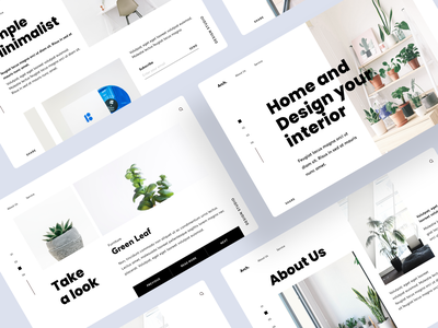 Website - Home and Design Interior overlap homepage unique landing page scrolling minimalist minimal design interior home plant ux ui typeface typography layout picture website card bold clean