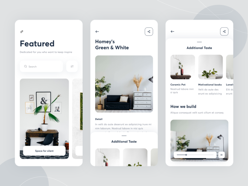 Interior App Concept mobile ui explore architecture interior design detail page clean rounded ux ui card design mobile ios home interface apps building interior