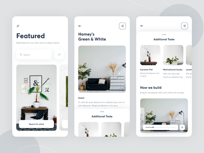 App - Interior mobile ui explore architecture interior design detail page clean rounded ux ui card design mobile ios home interface apps building interior