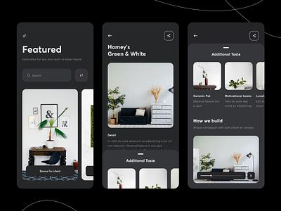 App - Interior [ Dark Mode] layout interior vector apps mobile app interface card white black dark ui dark theme ux ui clean architecture dark mode