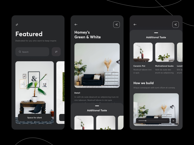 Interior App Concept - Dark Mode layout interior vector apps mobile app interface card white black dark ui dark theme ux ui clean architecture dark mode