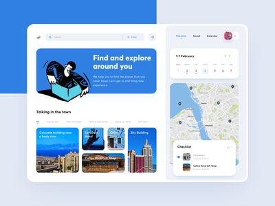 Dashboard - Explore and Travel uiux product design calendar photo picture card maps travel planner checklist place tour city dashboard ui website app travel mobile ui ui clean dashboard