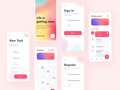 App - To Do List [ Complete Screen ] ui trends minimalist minimal card list schedule mobile tools management app abstract neat clean gradient ios ui to-do list