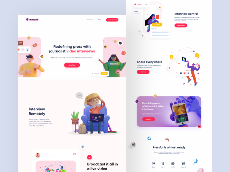Pressful - Landing Page vibrant minimalist modern interview web design video conference character pastel illustration clean webapp fun element homepage colorful ux ui website 3d landing page