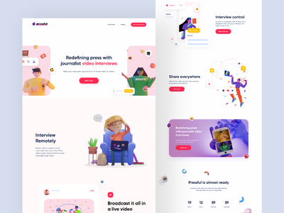 Landing Page - Pressful vibrant minimalist modern interview web design video conference character pastel illustration clean webapp fun element homepage colorful ux ui website 3d landing page