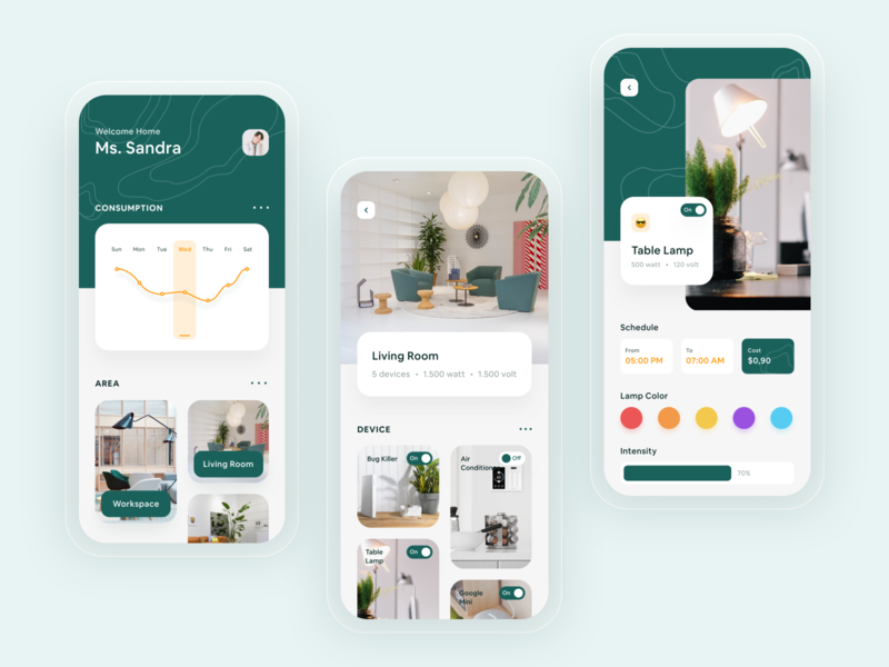Smart Home Application Concept switch green decoration home minimal application ui concept uiuxdesign details lamp chart device smarthome application ux mobile card ios ui clean