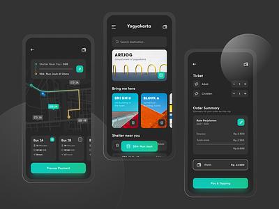 App - Transjogja [ Dark Mode ] schedule transportation mobile caha ux uber clean card tracking map ui ios gradient dark theme dark app dark ui apps bus