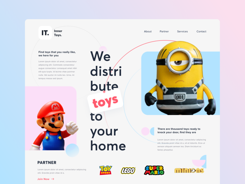 Toys Hero Section mario clean character online concept landing page dekstop grid ui website design app minion toystory landing homepage typography hero colorful toys website