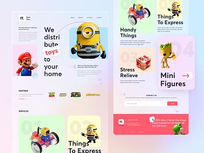 Landing Page - Toys branding services gradient glass despicable me mario uiux toy design landing page website ui clean minimalist