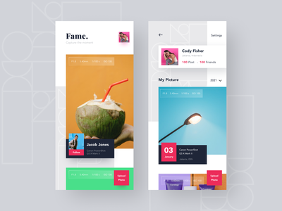 App - Photography Social geometic picture picture book mobile uiux card clean ui ios social media photography media photo
