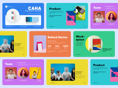 Caha - Slide Presentation Design ( Fun Edition ) editorial template bright product team creative concept card layout studio colorful powerpoint keynote slide presentation clean