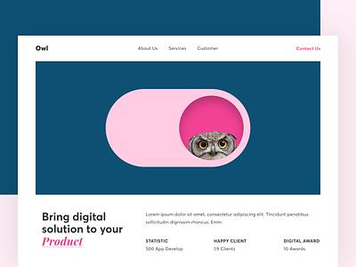 Hero - Digital Agency illustration branding card client statistic image layout ux ui typography clean product digital landing page website desktop hero owl