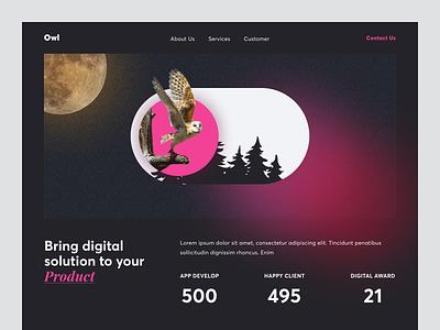 Hero - Digital Agency [Dark Version] image client night branding typography layout clean ux ui dark mode digital agency statistics website landing page hero owl