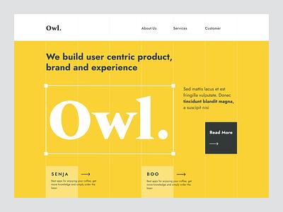 Hero - Owl Digital Agency page homepage design theme card landing page website ux ui typography layout clean agency digital owl