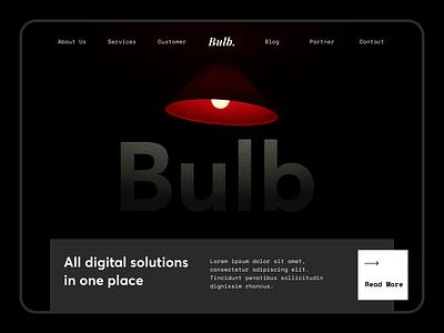 Hero - Bulb Digital Agency customer bulb lamp section hero digital web design clean layout typography ux ui landing page website