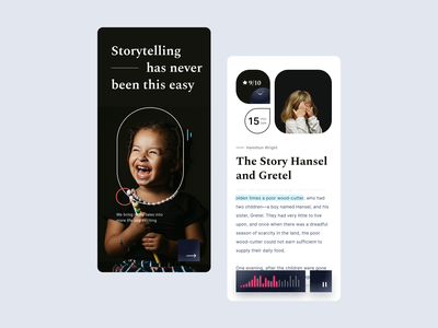 App - Audio Book happy kids child design mobile android ios app tale storytelling story audio book ux ui user experience application app