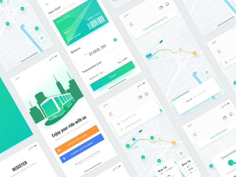 Bus App Concept transportation ux ui ios clean illustration map tracking bus bus app