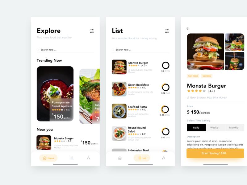 Saving For Food design mobile app money saving details foodie food app ios clean ui food