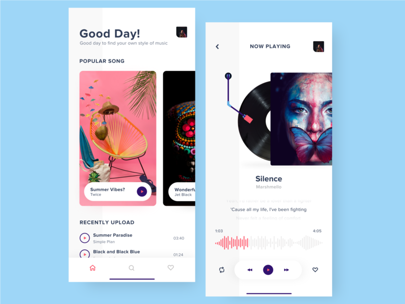 Music Player App annisha play sing song music art ios mobile ui design ui music player vinyl music app music application app
