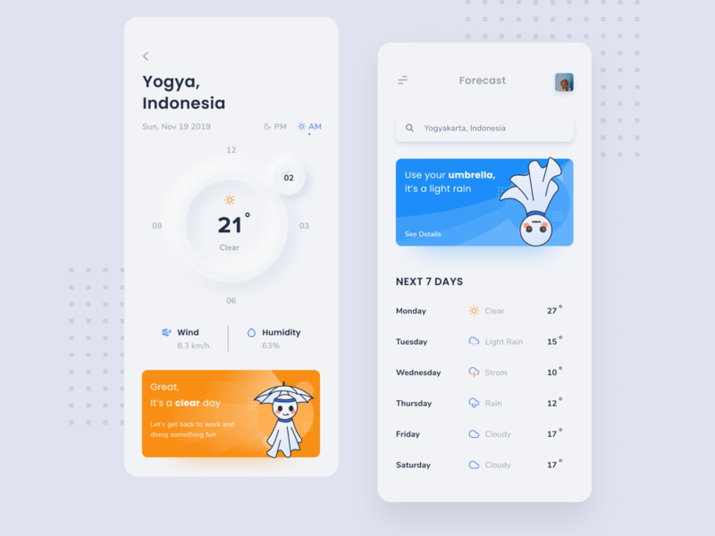 Weather App Design Concept ux ui caha app design application weather forecast sun rain design illustration weekly clean iphone weather app weather forecast ios android app