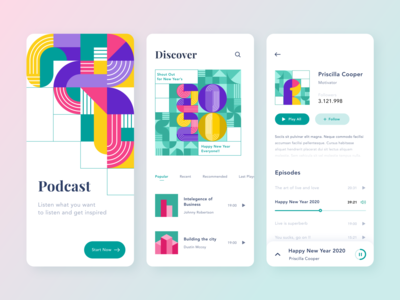Podcast App Geometric Pattern discover application clean popular design iphone screen splash ios mobile bright colors gradient ui 2020 new year product design colorful streaming app pattern geometric podcast