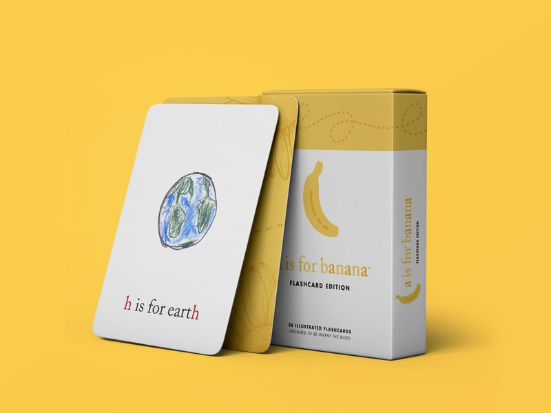 A is for Banana - Flash Cards doodle hand drawn hand concept thinking children child young education kids learning cards flash bananas banana logo design branding type typography
