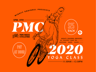 Mighty Squirrel Yoga Event Flyer procreate ipad fundraiser charity challenge yoga brewery road bike squirrel illustration massachusetts illustrator poster design branding type typography