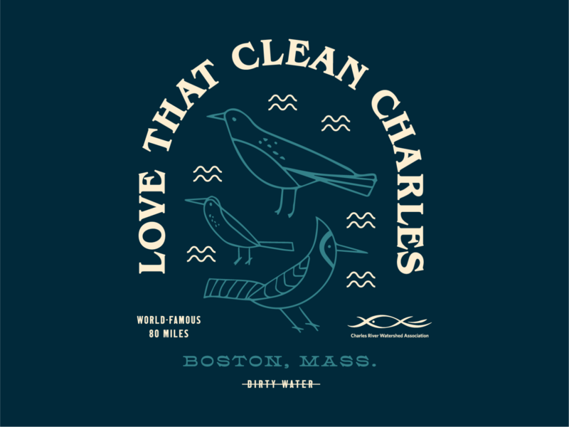"""Love that Clean Charles"" Merch Art water dirty clean river charles nature birds bird illustration massachusetts boston illustrator design branding type typography"