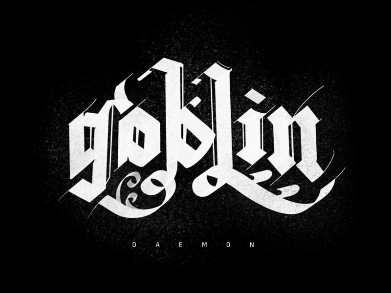 Creative Challenge: Goblin devil demon dungeons medieval monsters monster goblin scripts lettering script blackletter design type typography