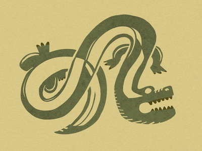 Monday Madness - 𝕀ℕ𝔽𝕀ℕ𝕀𝕋𝕐 𝔾𝔸𝕋𝕆ℝ symbol infinity nature teeth sketch simple 2d tribal swirl doodle ipad procreate animal swamp crocodile alligator gator