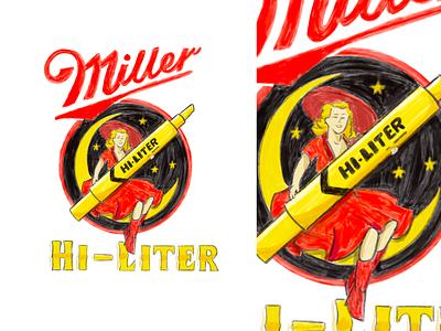 Monday Madness - ᗰIᒪᒪEᖇ ᕼI-ᒪITEᖇ procreate alcohol advertisement ad vintage highlife life highlight miller beer illustrator poster design branding type typography