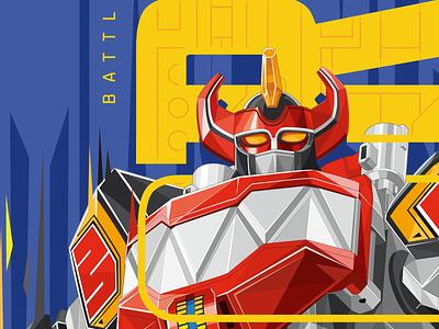 Power Rangers Megazord Licensing Art clssic hasbro licensing art megazord rangers power illustrator design type typography
