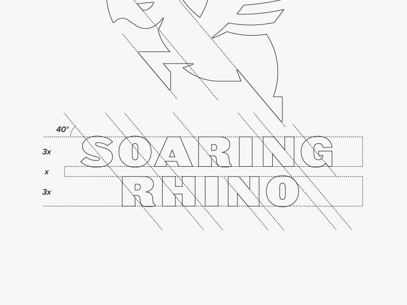 Soaring Rhino Wordmark Detail brand development wings rhino mark logo icon branding
