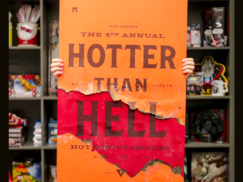 Hotter Than Hell Poster orange red competition burn hell fire typography poster contest sauce hot