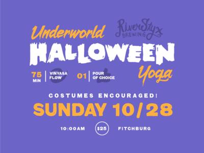 Underworld Halloween Yoga class ad brewery yoga spooky halloween design branding type typography