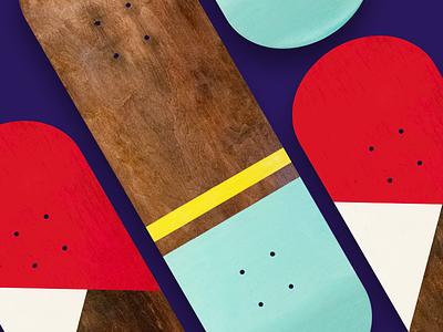 Summer Project - Painted Decks skate deck paint abstract bold minimal design skateboard