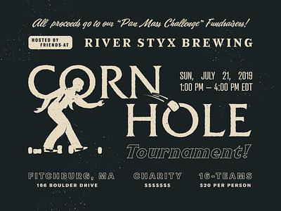 """Corn Hole Tournament!"" massachusetts brewery old vintage event lawn black retro ad charity tournament game cornhole design type branding typography"