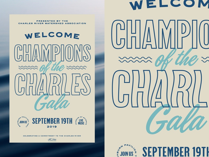 Champions of the Charles 2019 Gala Poster nautical water science museum gala activism environment river sea ocean fish layout massachusetts boston poster design branding type typography